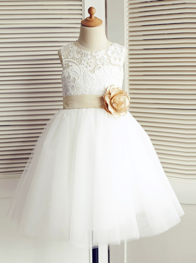 A-Line Round Neck White Flower Girl Dress with Flower Bowknot