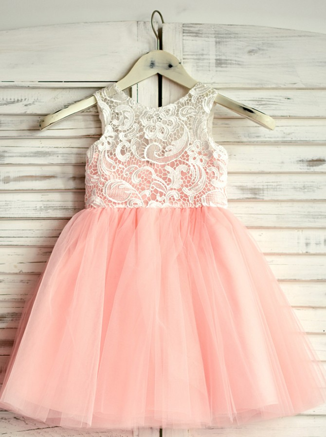 A-Line Round Neck Floor-Length Pink Flower Girl Dress with Lace