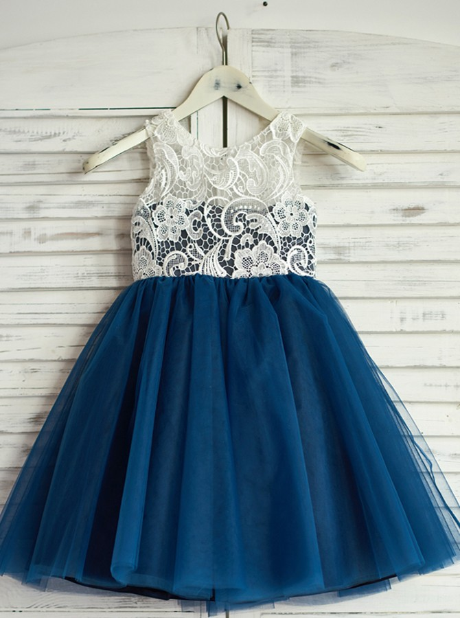 A-Line Round Neck Navy Blue Tulle Flower Girl Dress with Lace