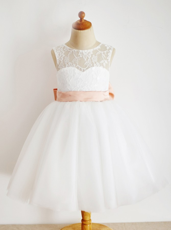 A-Line Round Neck Floor-Length White Flower Girl Dress with Lace Bowknot