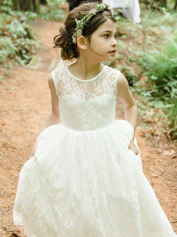 A-Line Round Neck Floor-Length White Backless Lace Flower Girl Dress