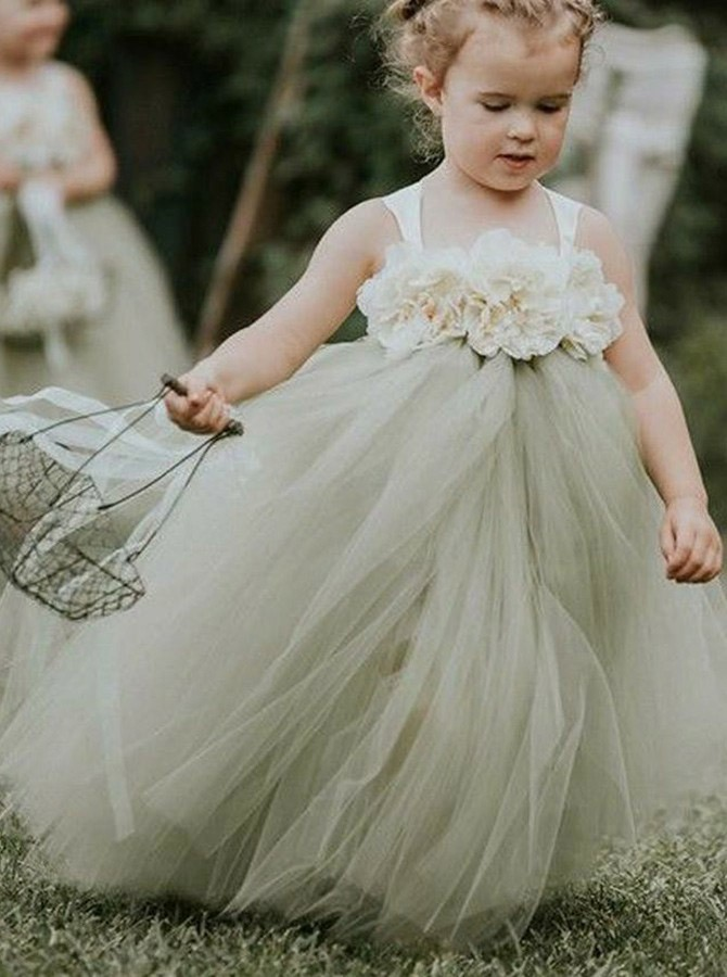 A-Line Straps Long Sage Tulle Flower Girl Dress with Flowers