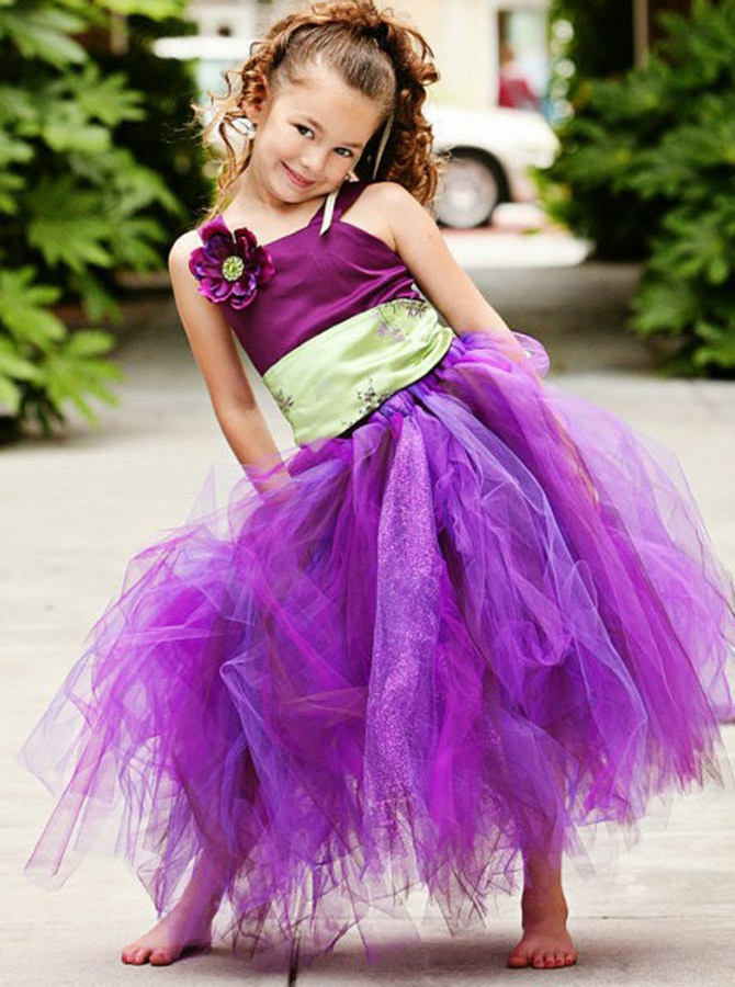 A-Line Straps Long Fuchsia Organza Flower Girl Dress with Flowers