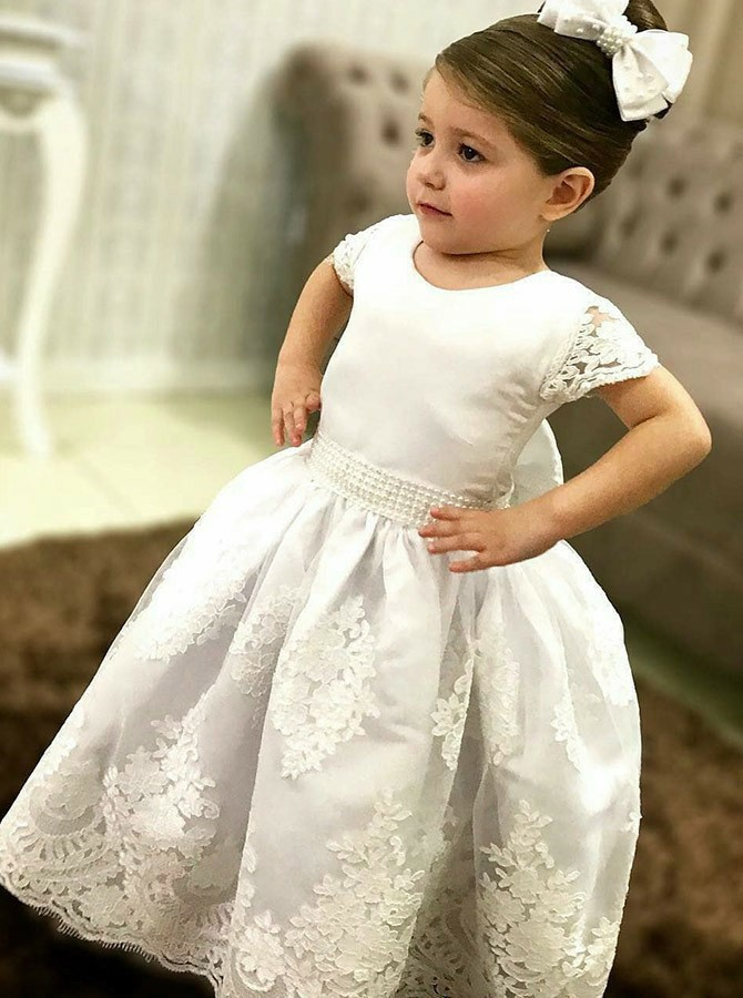 Ball Gown Round Neck White Short Sleeves Appliques Beading Flower Girl Dress
