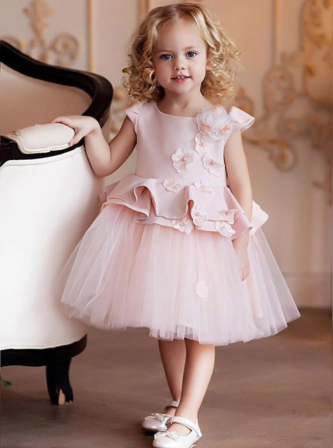A-Line Round Neck Knee-Length Pink Flowers Ruffles Flower Girl Dress