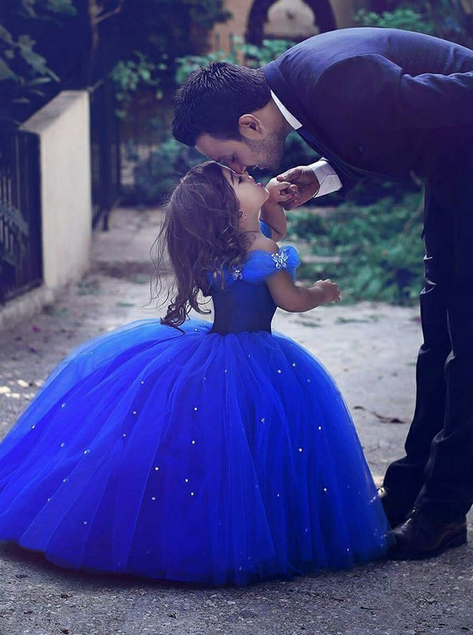 Ball Gown Off-the-Shoulder Floor-Length Flower Girl Dress with Beading