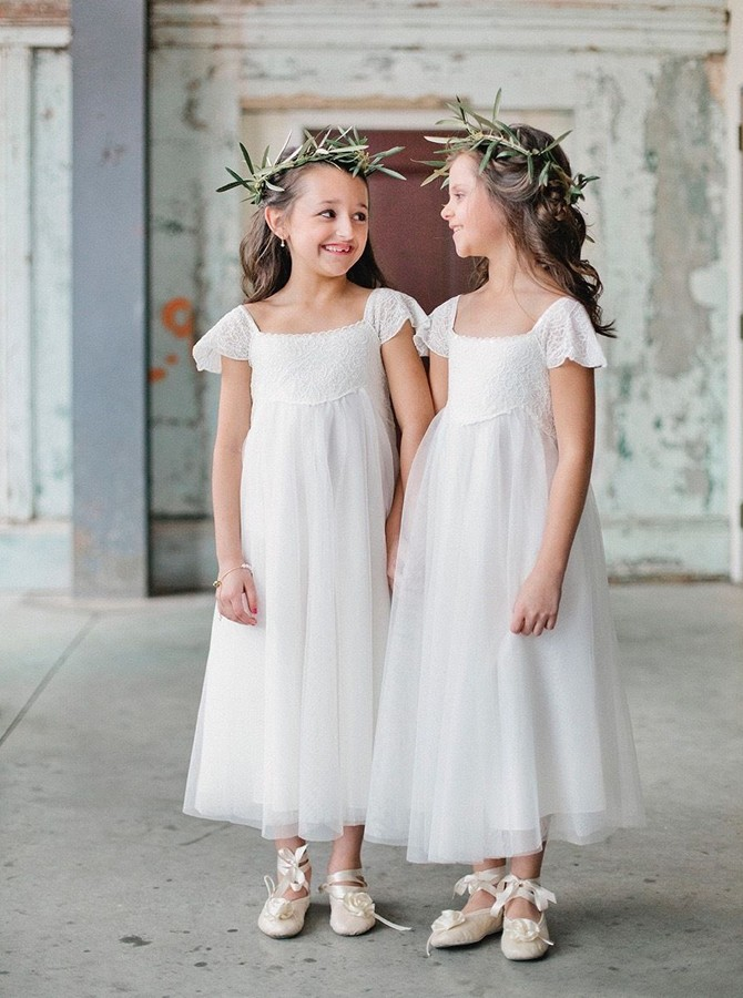A-Line Square Cap Sleeves White Flower Girl Dress with Lace