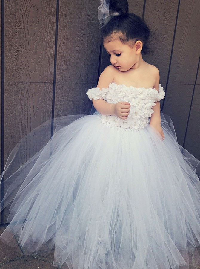 Ball Gown Off-the-Shoulder Floor-Length White Flower Girl Dress with Appliques