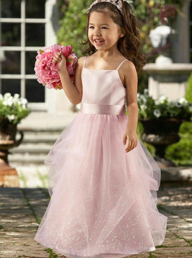 A-Line Spaghetti Straps Floor-Length Pink Lace Flower Girl Dress