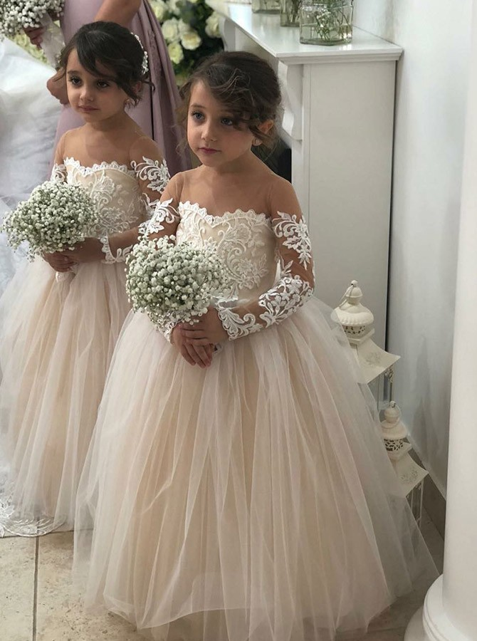 A-Line Round Neck Long Sleeves Pearl Pink Flower Girl Dress with Lace