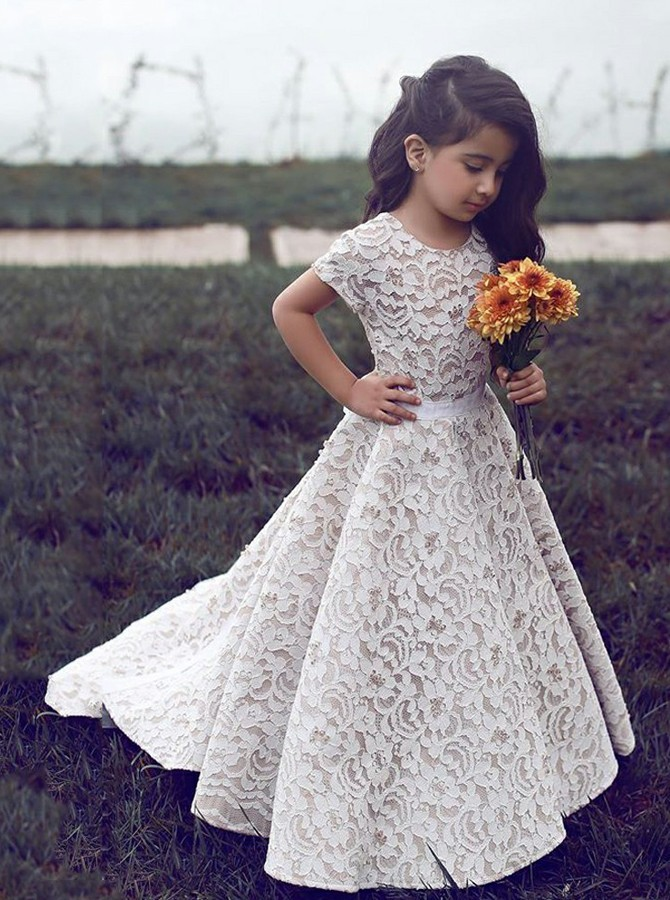 A-Line Round Neck Sweep Train Short Sleeves Lace Flower Girl Dress