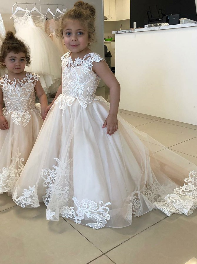 960583bdf00 A-Line Round Neck Sweep Train Ivory Flower Girl Dress with Appliques ...