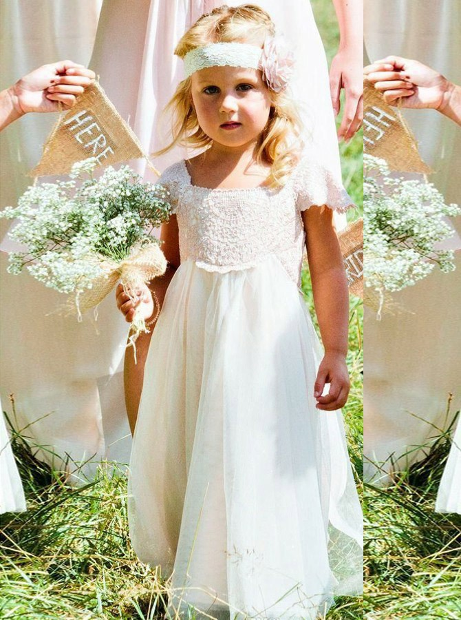 A-Line Square Floor-Length White Tulle Flower Girl Dress with Sashes Lace