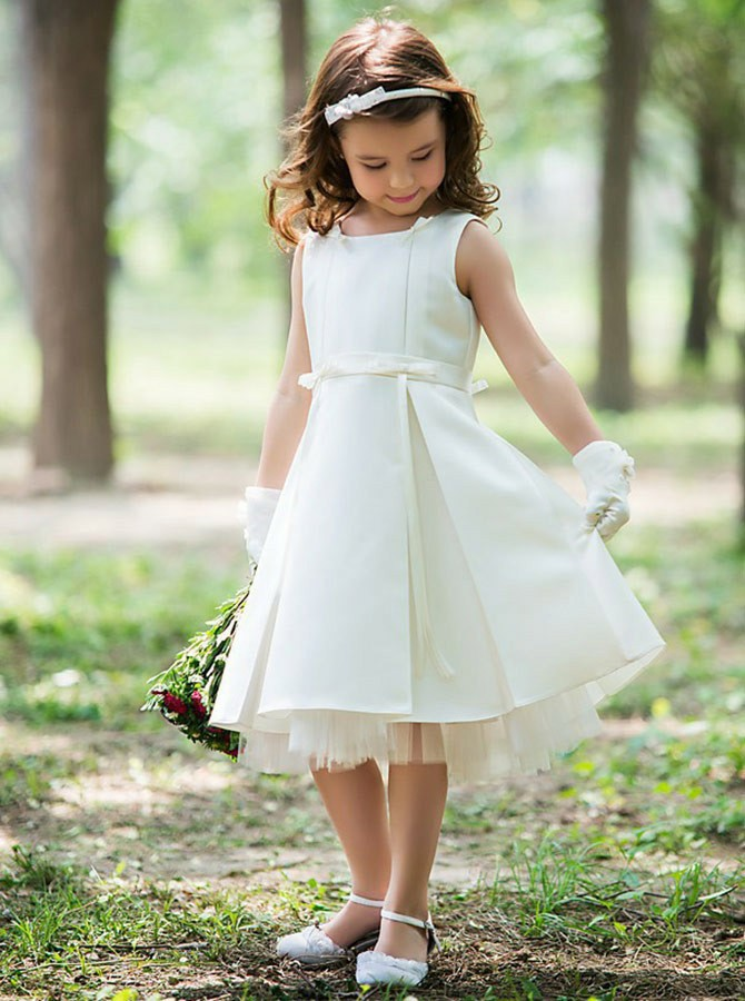 Cute A-Line Round Neck Mid-Calf White Satin Flower Girl Dress