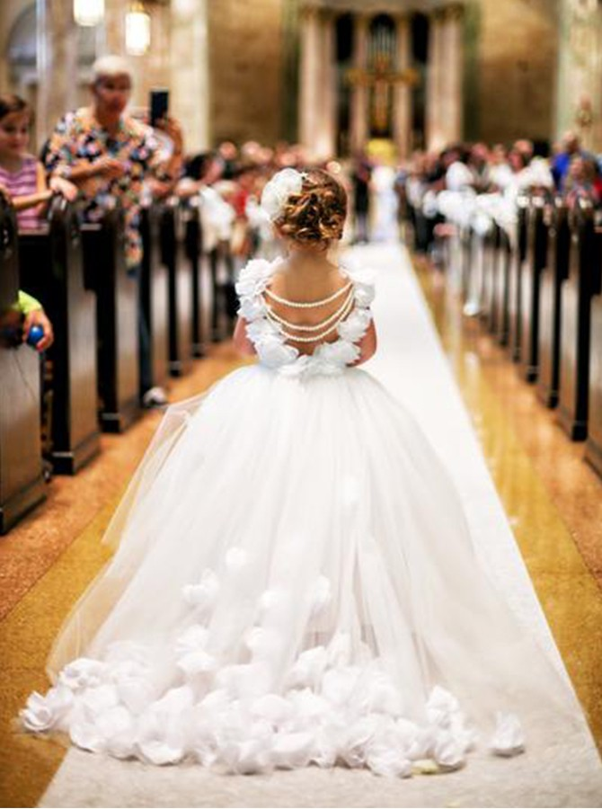 2c0fbfb435 ... Ball Gown White Ivory Tulle Flower Girl Dress with Hand-made Petals