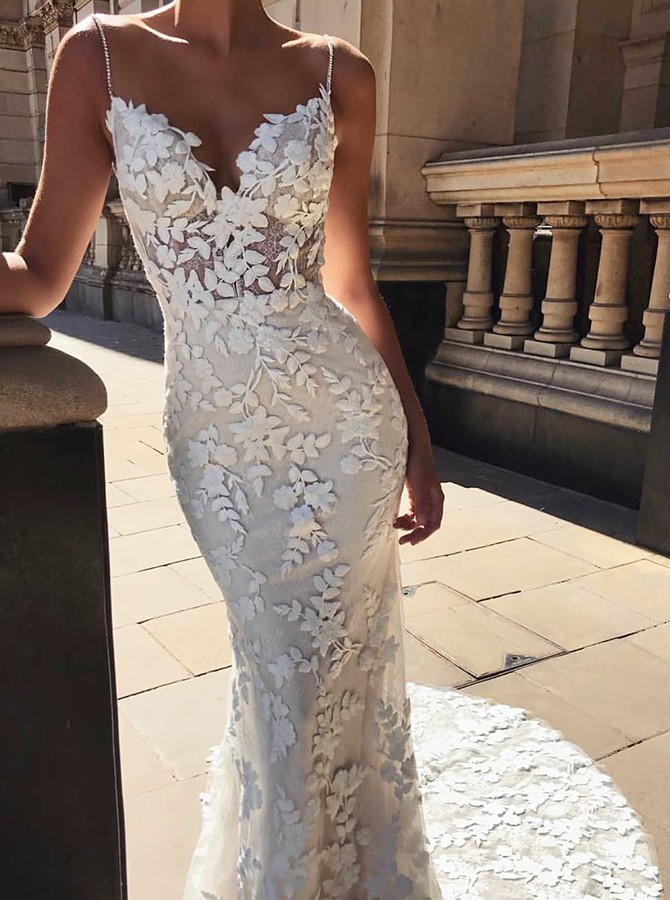 Mermaid Spaghetti Straps Sweep Train Wedding Dress with Appliques