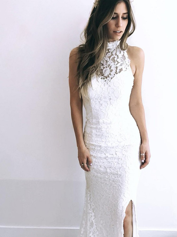 Sheath High Neck Floor-Length Lace Wedding Dress with Split
