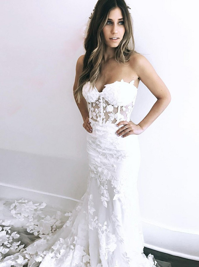 Mermaid Sweetheart Court Train White Wedding Dress with Appliques