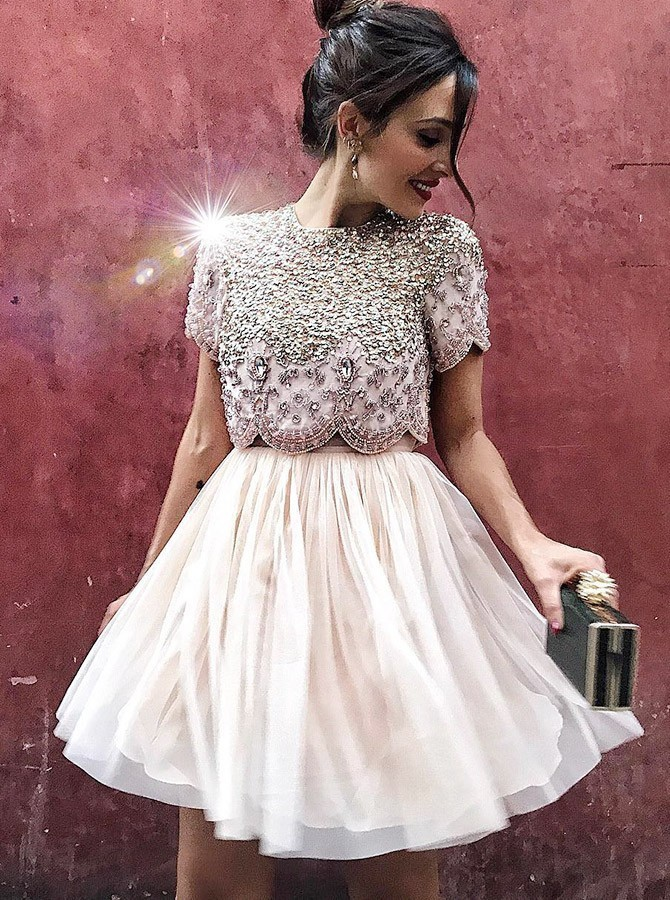 Two Piece Round Neck Sequins Rhinestone Beading Champagne Homecoming Dress
