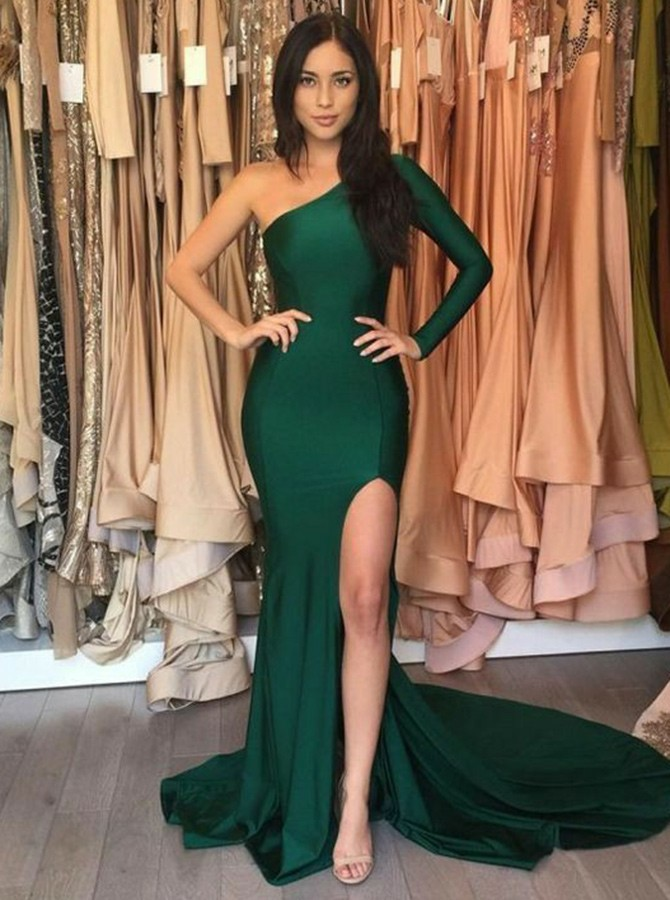 Mermaid One-Shoulder Sweep Train Long Sleeves Prom Dress with Split