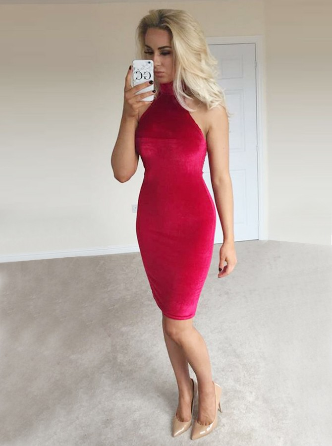 Sheath High Neck Above-Knee Red Velet Cocktail Dress