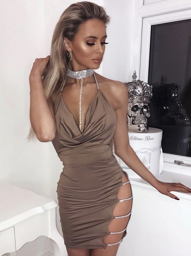 Sheath Halter Short Brown Backless Cocktail Dress with Sequins