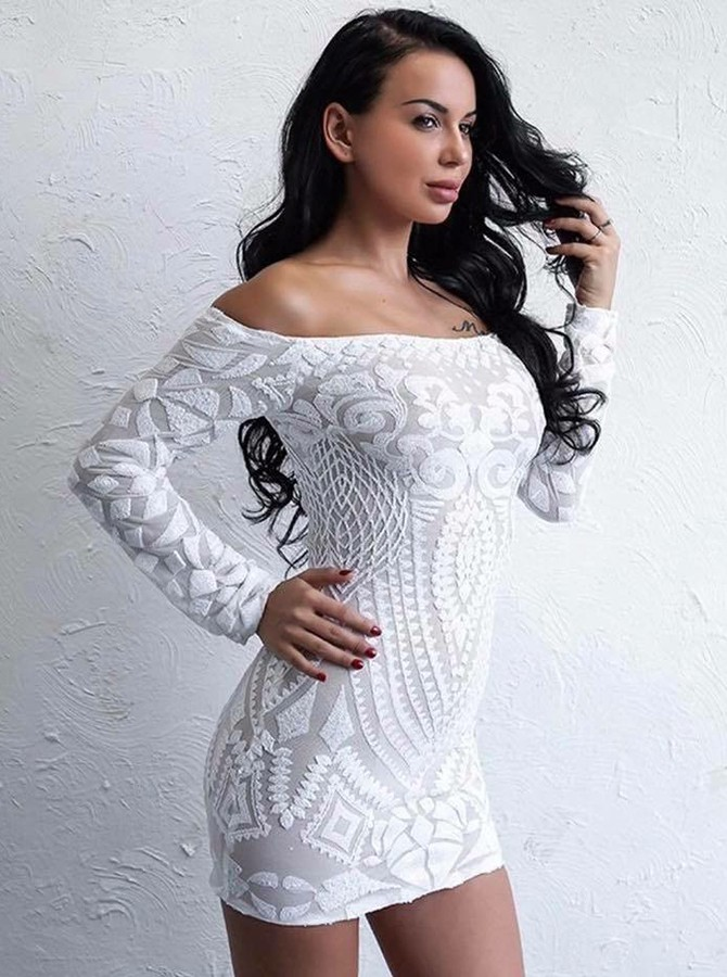 Sheath Off-the-Shoulder Lace Long Sleeves Cocktail Dress