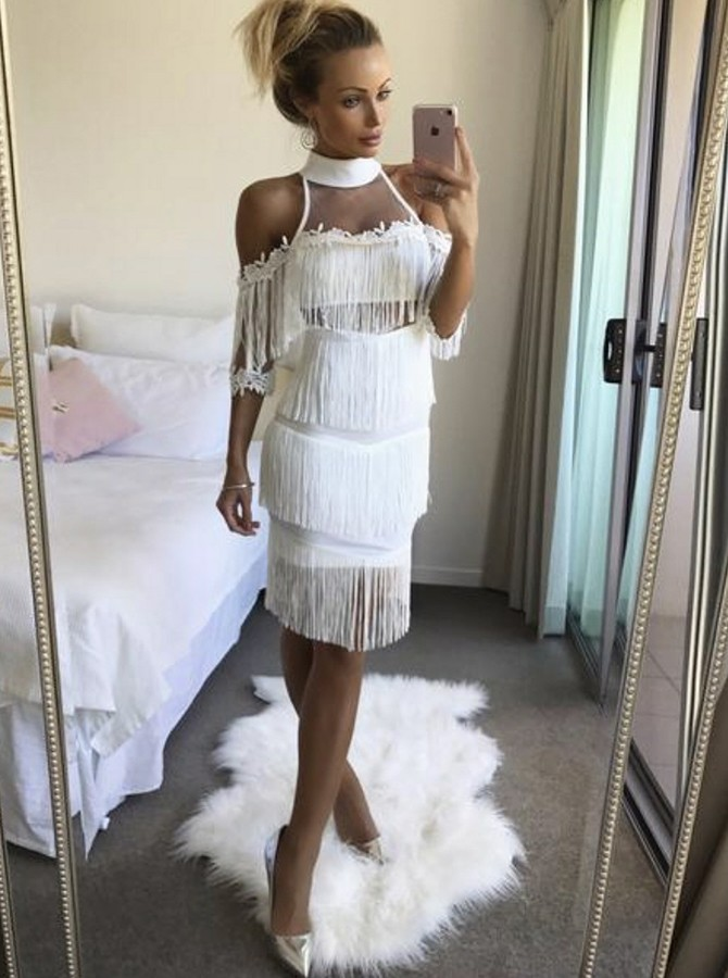 Sheath Cold Shoulder White Cocktail Dress with Tassel