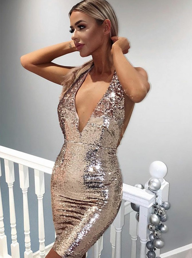 Sheath Halter Backless Short Rose Pink Sequined Cocktail Dress