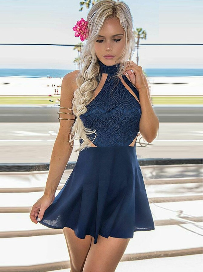 A-Line High Neck Navy Blue Chiffon Cocktail Dress with Lace