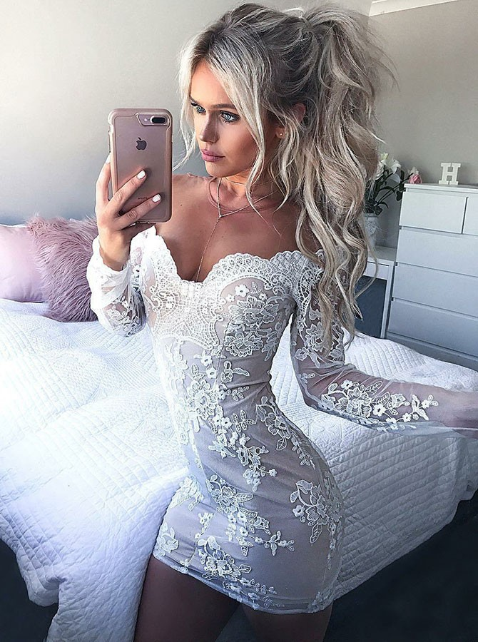 Sheath Off-the-Shoulder Long Sleeves Short White Homecoming Cocktail Dress with Appliques