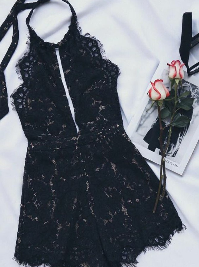 A-Line Halter Backless Black Lace Cocktail Dress with Keyhole
