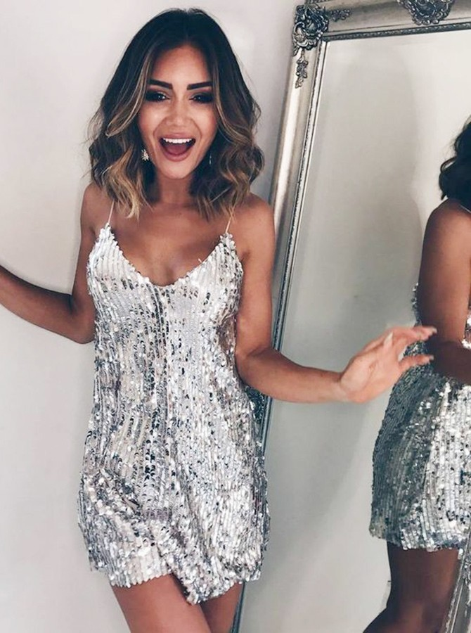 A-Line Spaghetti Straps Short Sequined Silver Prom Dress