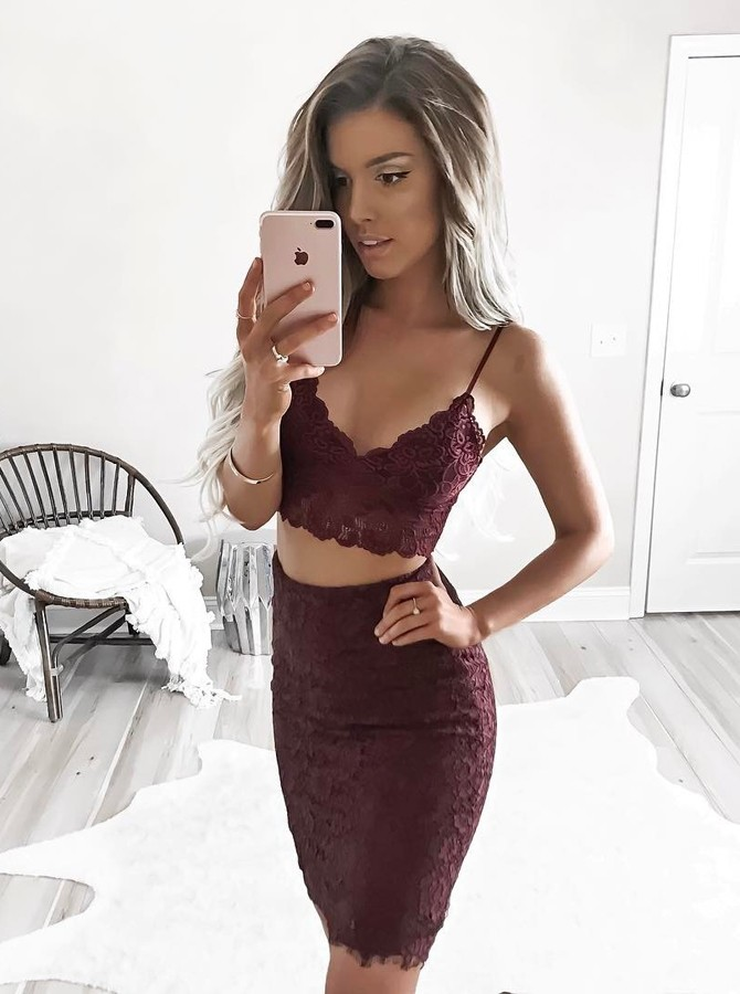 Two Piece Spaghetti Straps Above-Knee Wine Lace Homecoming Cocktail Dress