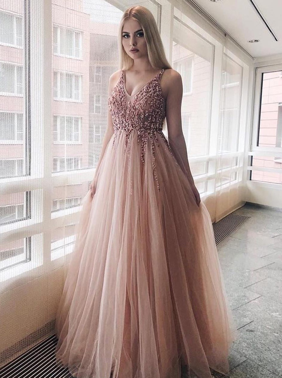 A-Line V-Neck Long Pink Backless Prom/Evening Dress with Beading