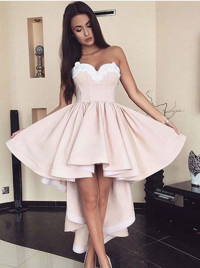 A-Line Sweetheart High Low Pink Pleated Satin Homecoming Dress with Appliques