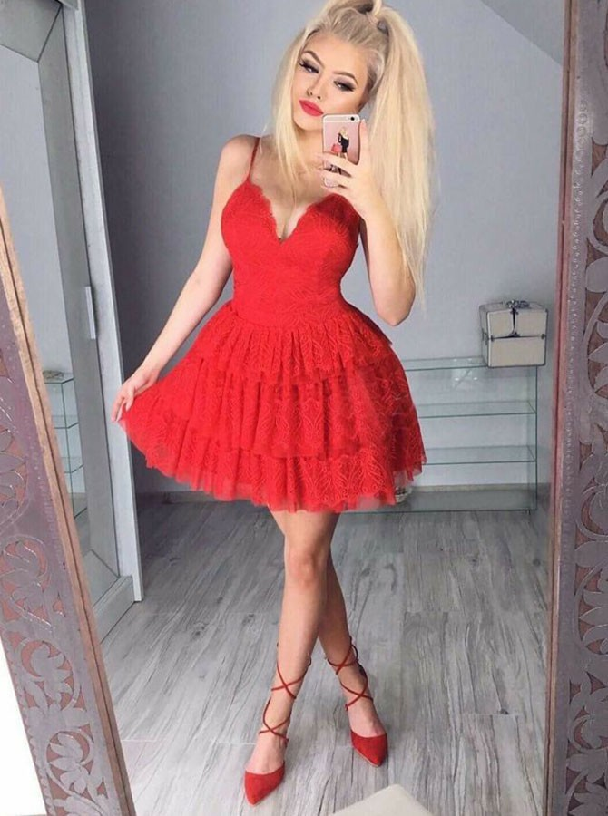 A-Line Spaghetti Straps Short Tiered Red Lace Homecoming Dress