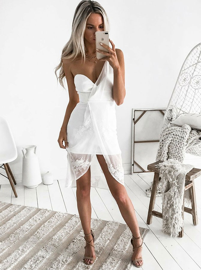 Sheath One-Shoulder High Low White Chiffon Homecoming Cocktail Dress