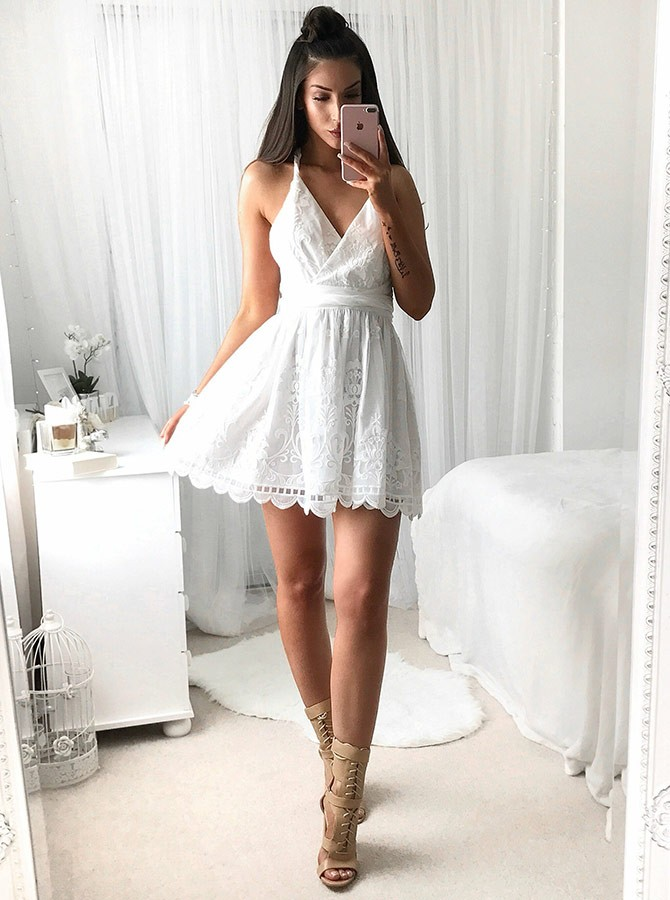 A-Line V-Neck Criss-Cross Straps Short White Lace Convertible Homecoming Dress