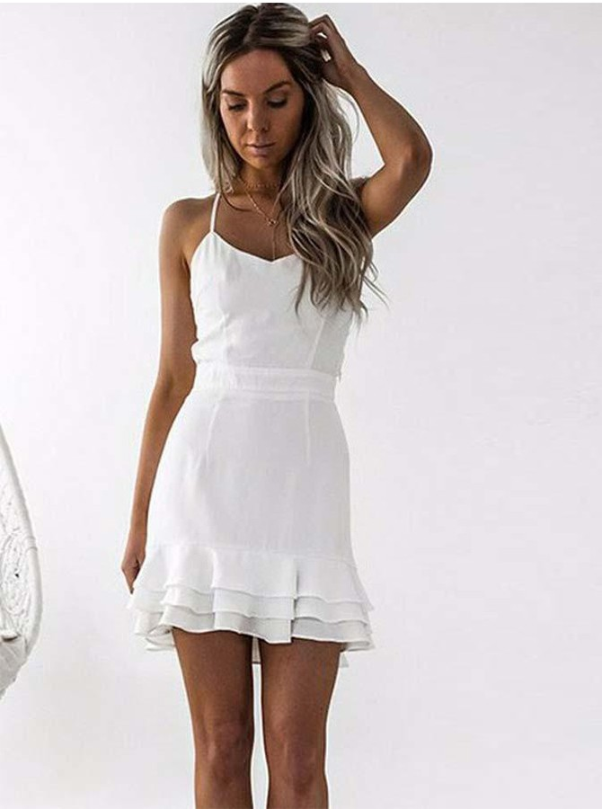 Sheath Spaghetti Straps Short White Homecoming Dress