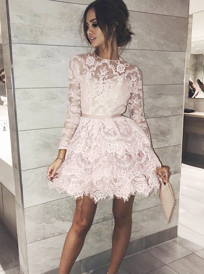 A-Line Jewel Long Sleeves Above-Knee Pink Lace Homecoming Dress