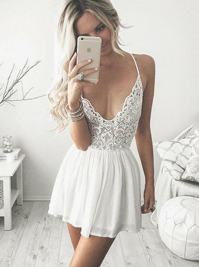 A-Line Spaghetti Straps Short White Chiffon Homecoming Cocktail Dress with Lace