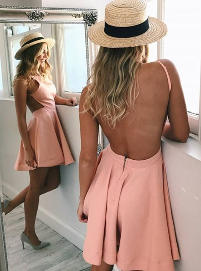 A-Line Bateau Backless Short Pink Satin Homecoming Cocktail Dress