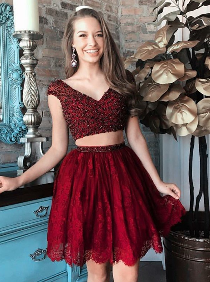 Two Piece V-Neck Cap Sleeves Short Burgundy Lace Prom Homecoming Dress with Beading