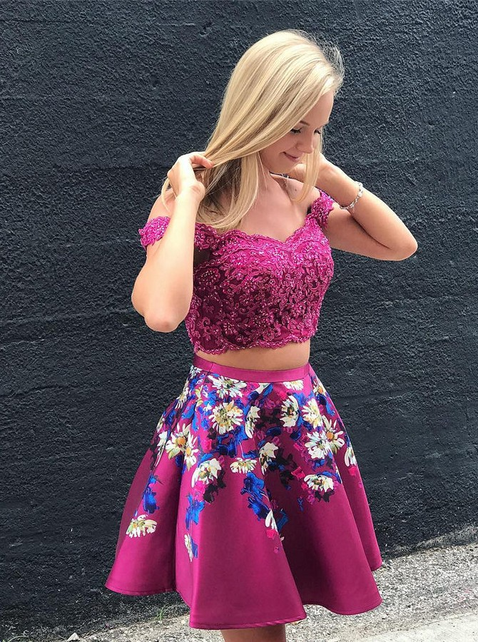 Two Piece Off-the-Shoulder Short Fuchsia Printed Prom Homecoming Dress with Lace Bodice
