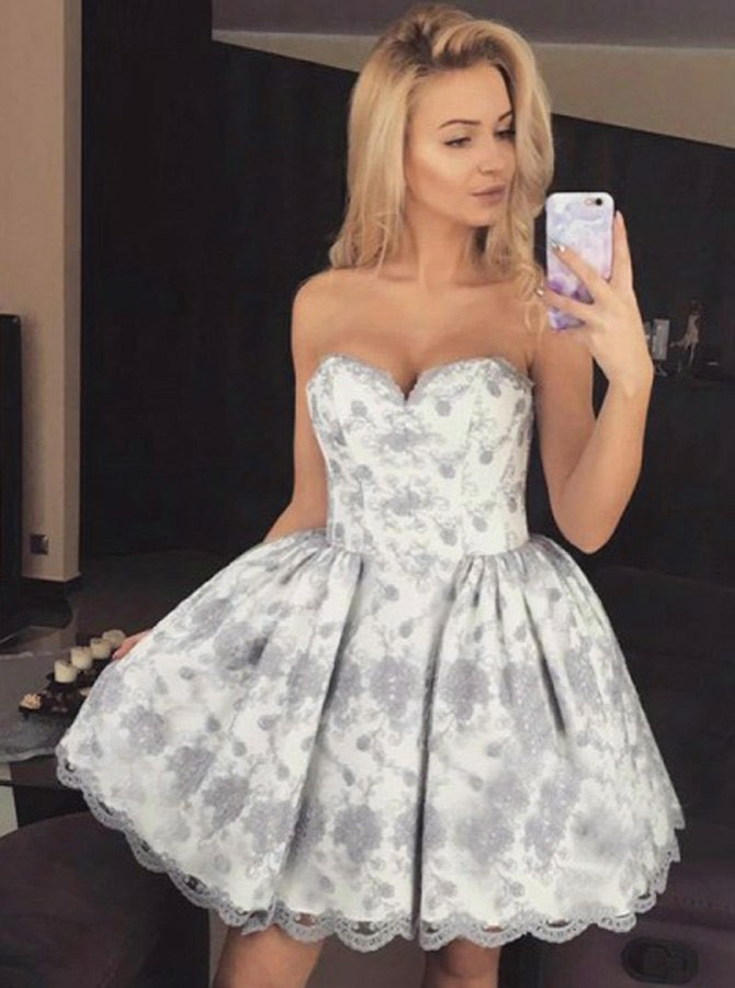 A-Line Sweetheart Short White Homecoming Dress with Grey Appliques