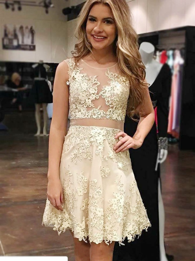 A-Line Crew Sleeveless Above-Knee Champagne Homecoming Dress with Appliques