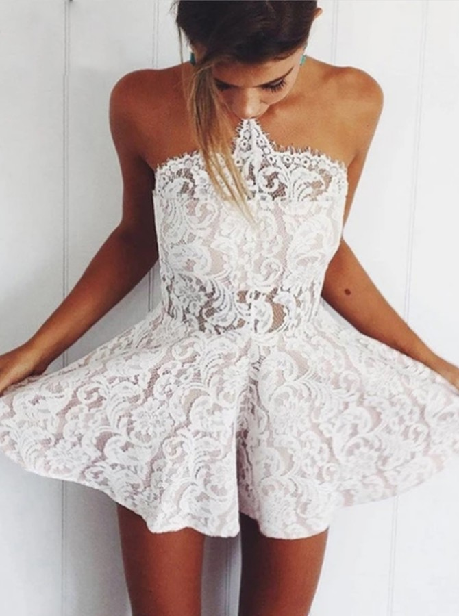 Chic A-line Halter Ivory Lace Homecoming Dress Short Cocktail Dress