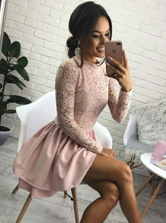 A-Line Jewel Long Sleeves Short Pink Homecoming Dress with Lace Bodice