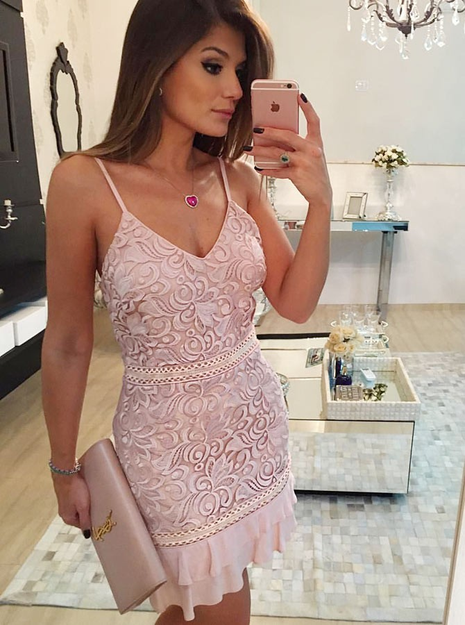 Sheath Spaghetti Straps Short Pink Lace Homecoming Cocktail Dress